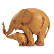 Adorable Mother And Baby Elephant Carved Sculptures