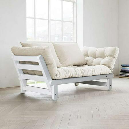 Fresh Futon Beat White Convertible Sofa