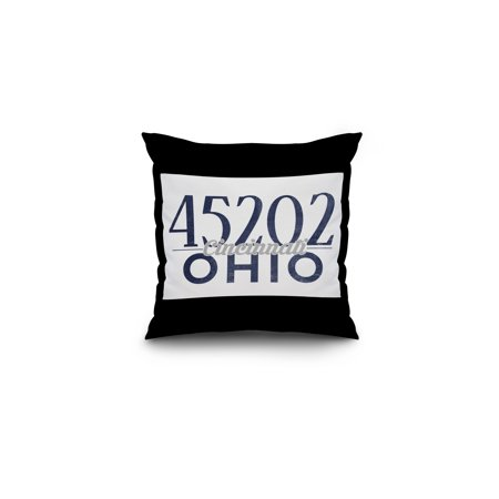 Cincinnati, Ohio - 45202 Zip Code (Blue) - Lantern Press Artwork (16x16 Spun Polyester Pillow, Black Border) ()