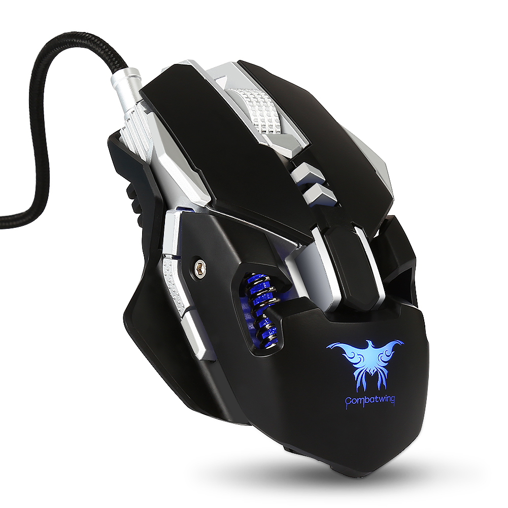 Wired Gaming Mouse Mice 7 Buttons 3200DPI 1000Hz Return Rate Weight Tuning with 4 Color Breathing LED Light