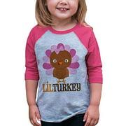 7 ate 9 Apparel Baby Girl's Little Turkey Thanksgiving 12 Months Pink Raglan
