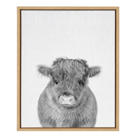 Kate and Laurel Sylvie Baby Calf, Farm Animal Print Black and White Portrait Framed Canvas Wall Art, Natural, 18x24