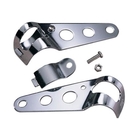 Emgo 66-35800 Universal Clip-On Side Mount Headlight Brackets - - Chrome Exhaust Mount Bracket