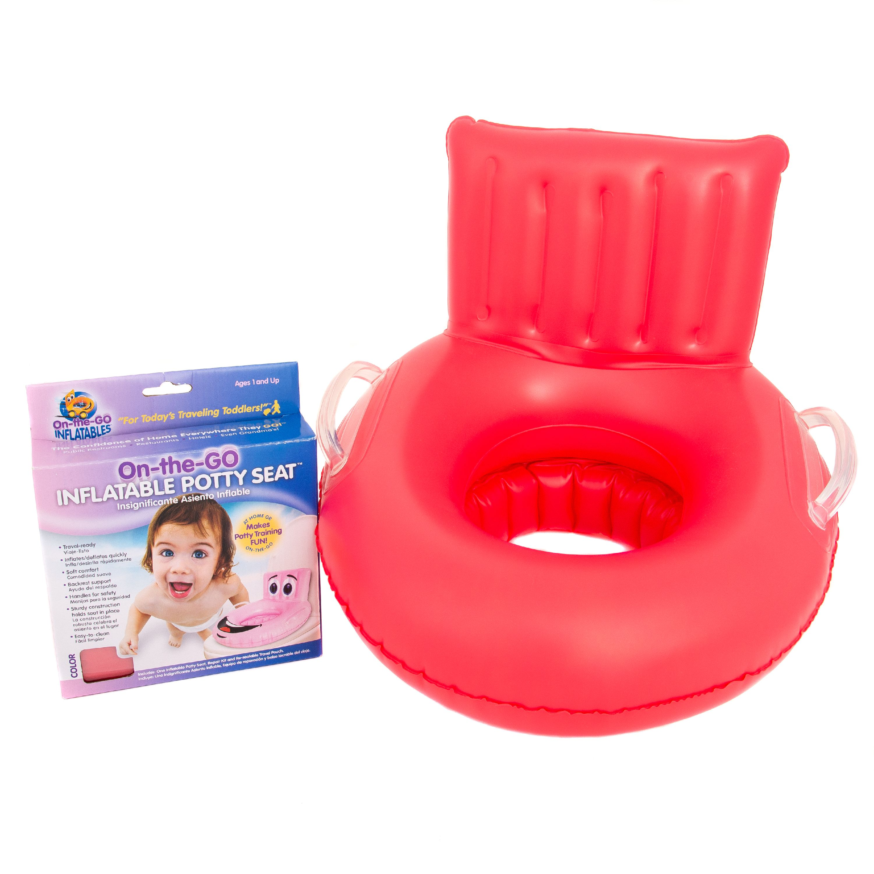 On the Go Inflatables Red Soft Inflatable Travel Potty Training Seat