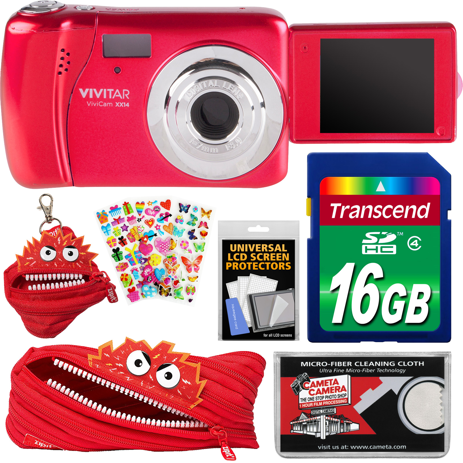 Vivitar ViviCam VXX14 Selfie Digital Camera (Red) with 16GB Card + Zipit Case & Pouch + Puffy Stickers + Cloth... by Vivitar
