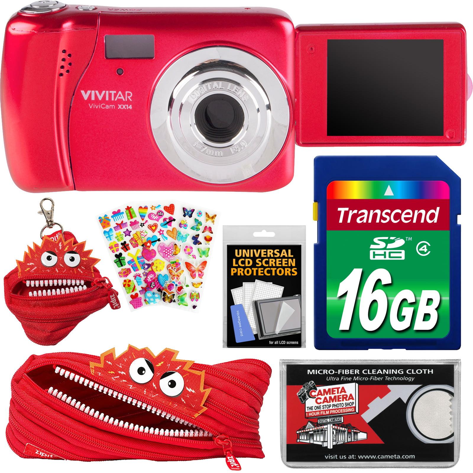 Vivitar ViviCam VXX14 Selfie Digital Camera (Red) with 16GB Card + Zipit Case & Pouch + Puffy Stickers + Cloth... by Vivitar