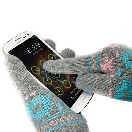 GreatShield COZY Super Warm Unisex All Fingers Touchscreen Gloves - 95% Conductive Lambswool (Pink/Blue - S/M Size)