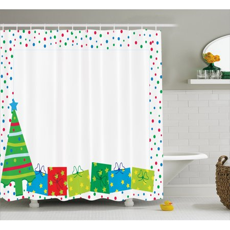 kids party shower curtain happy christmas and new year theme pine tree surprise boxes border