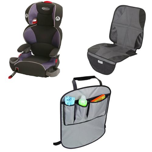 Graco AFFIX Youth Booster Seat with Latch System & Car Seat Mat and Backseat Kick Protectors, Grapeade