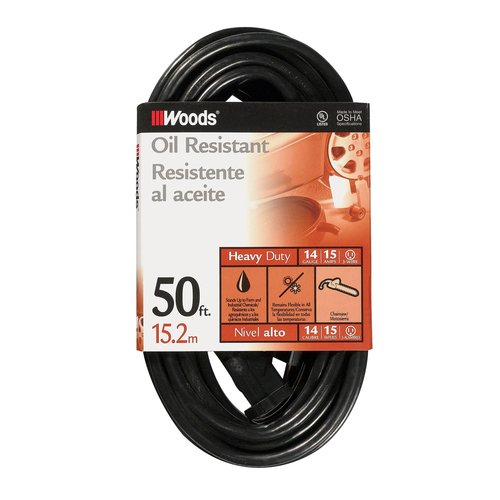 Woods 50' 14/3 SJTOW Agricultural Extension Cord, Black