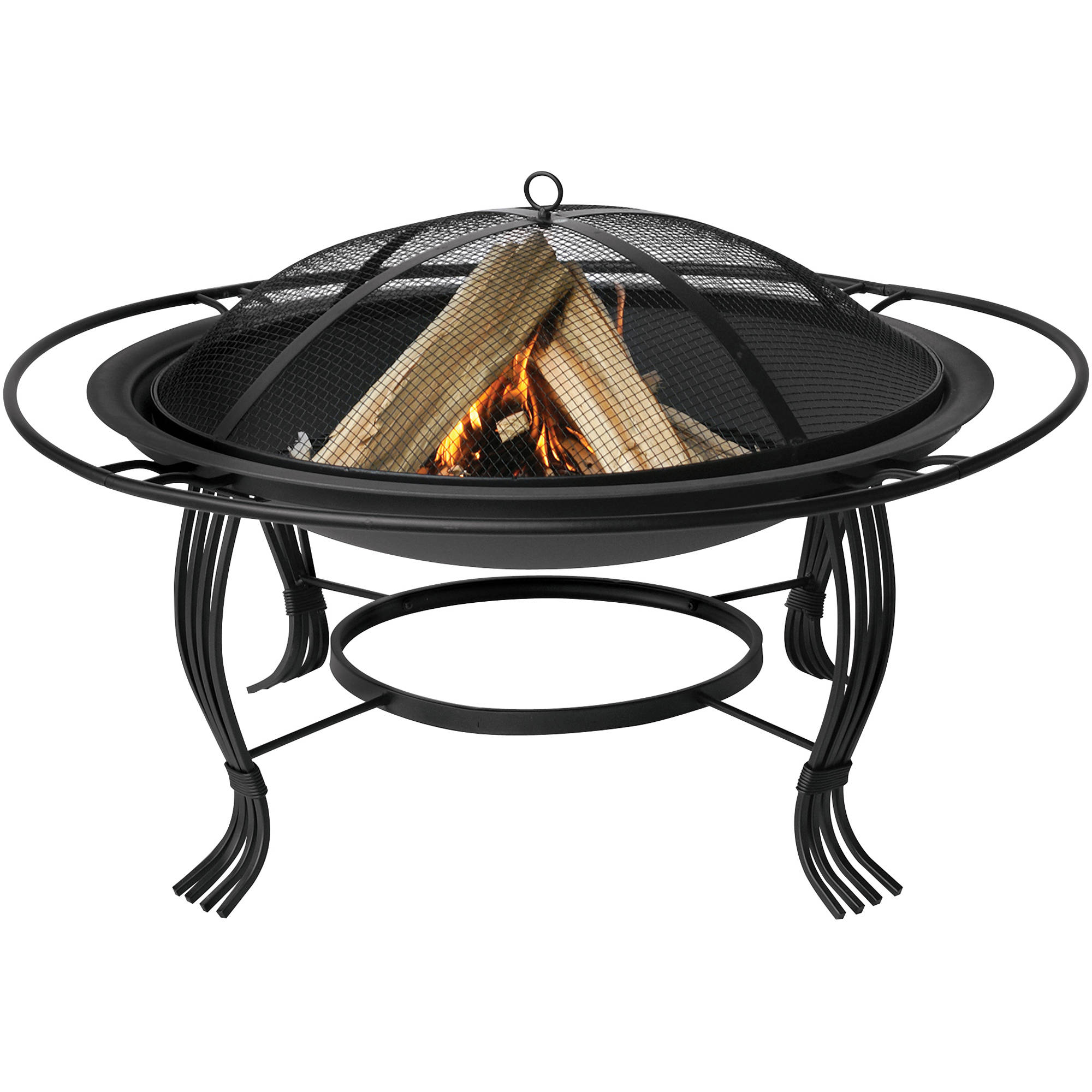 uniflame fire pit bowl with outer ring black