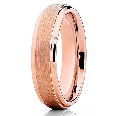- Silly Kings 6mm Rose Gold Tungsten Carbide Wedding Ring Handmade Unique Design Beveled Edge Unisex Comfort Fit Band