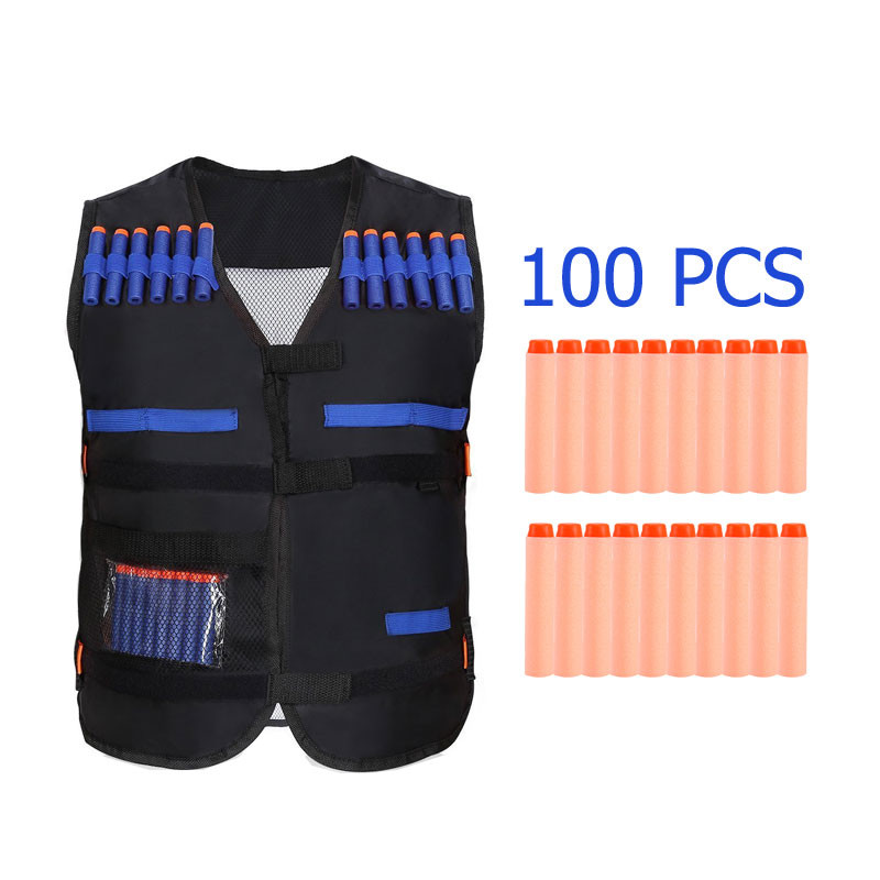 Kids Elite Black Tactical Vest with 100 PCS EVA Round Head Soft Bullets Refill Darts For N-Strike Elite Series Toy