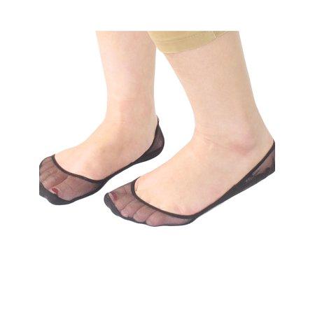 Mesh Low Cut Socks (Unique Bargains Pair Tiptoe Mesh Low Cut Elastic Cuff Boat Socks Black for Women )