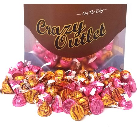 Hershey's Kisses, Milk Chocolate with Caramel Mix, Pink Gold Foils (Pack of 3 Pound)](Pink Hershey Kisses)