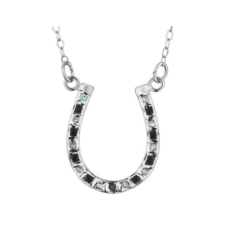 Black and White Diamond Horseshoe Necklace in Sterling Silver with Chain - image 1 of 1