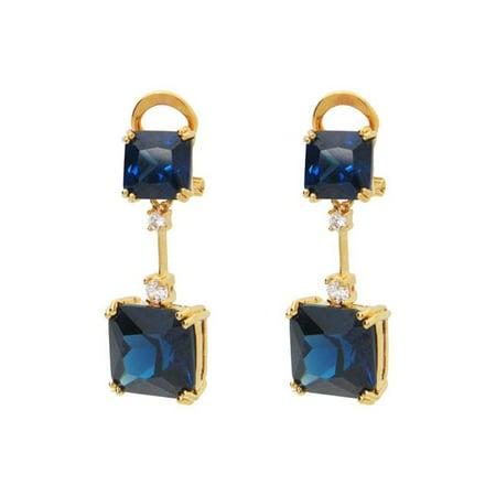 Fronay 3G5149S Boucles d'oreille en argent sterling - motif de zircons cubiques en saphir bleu - image 1 de 1