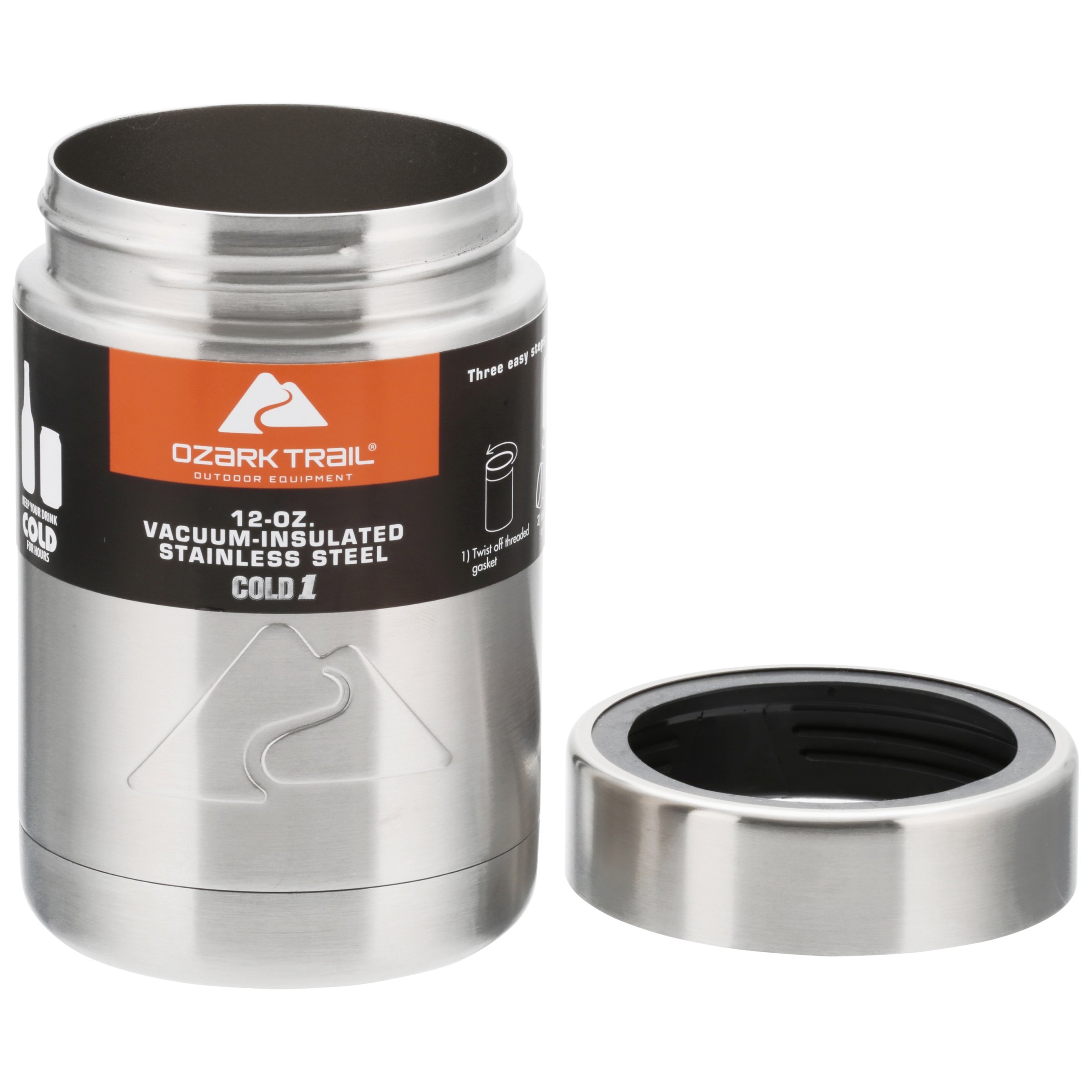 87b023419ec Ozark Trail 12-Ounce Vacuum Insulated Can Cooler with Metal Gasket -  Walmart.com