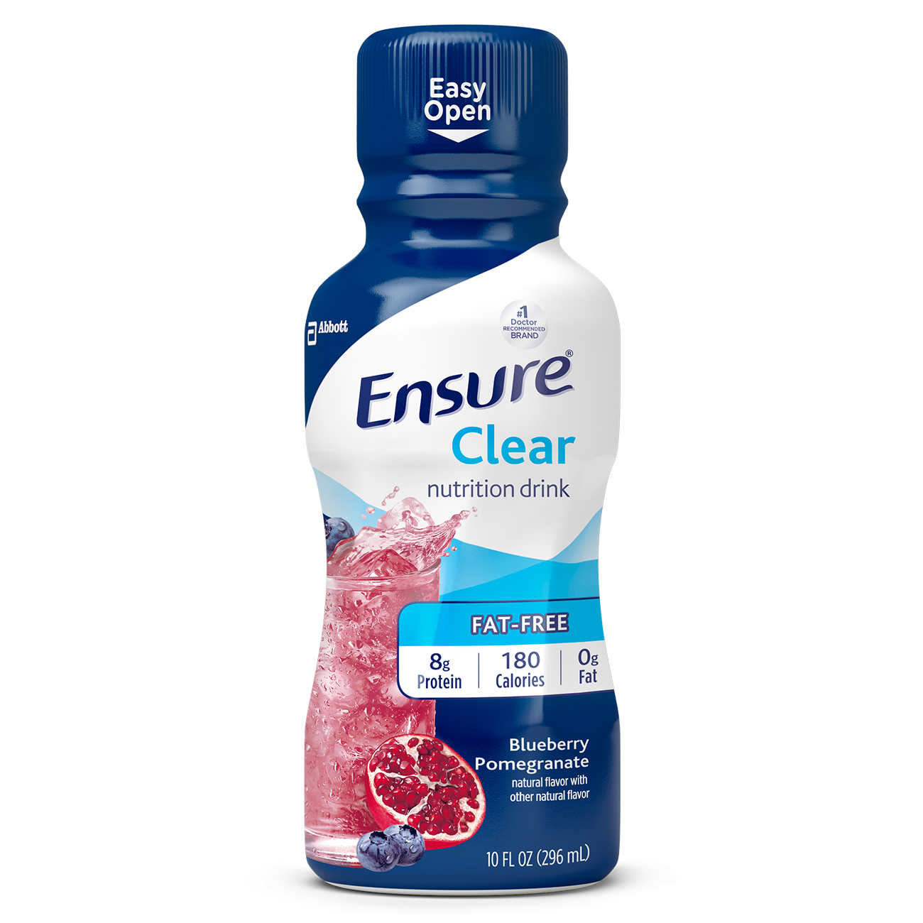 Ensure Clear Nutrition Drink, 0g fat, 8g of high-quality protein, Blueberry Pomegranate, 10 Fl oz, 4 Ct