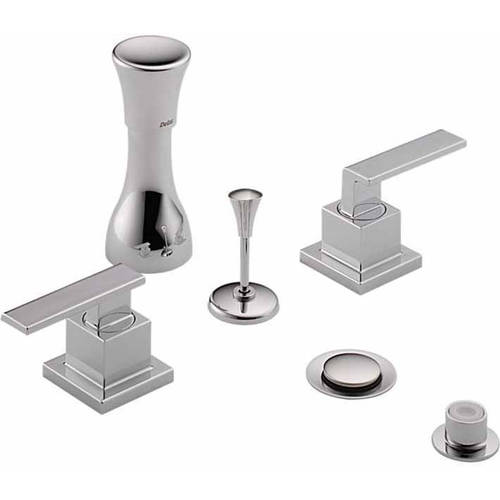 Delta Classic Bidet Fitting Kit Deck-Mounted Vertical Spray with Vero Metal Lever Handles, Available in Various Colors