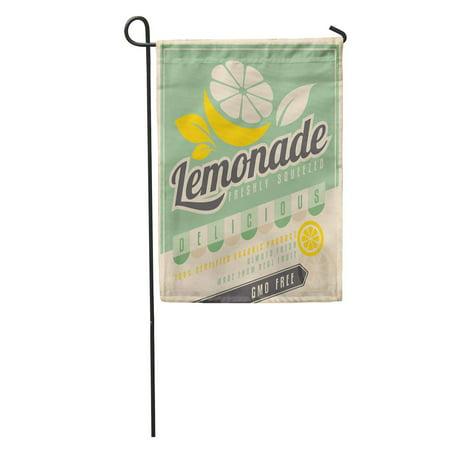 KDAGR Retro for Ice Cold Lemonade Vintage Label GMO Free Organic Fruit Product Food and Drink Promotional Garden Flag Decorative Flag House Banner 12x18 (Vintage Lemonade)