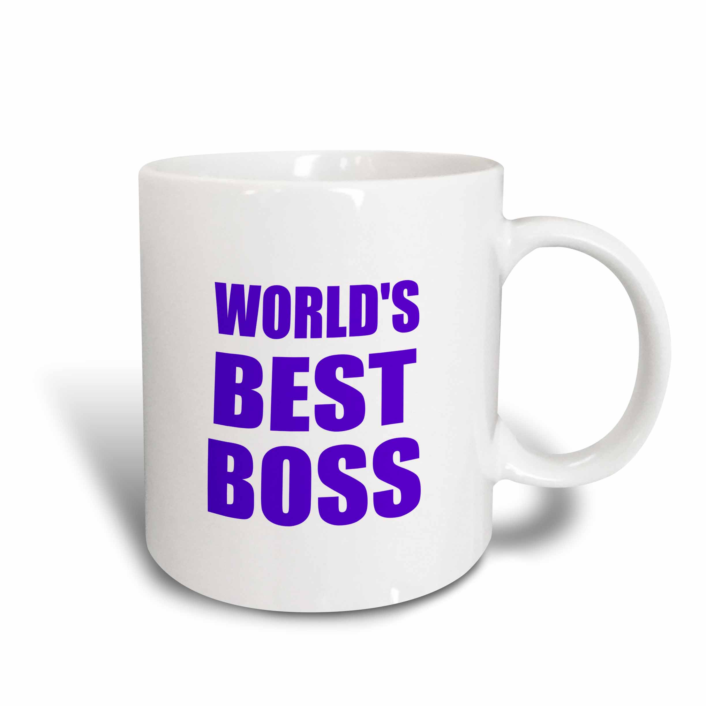 3dRose Worlds Best Boss - purple text - great design for the greatest boss, Ceramic Mug, 11-ounce