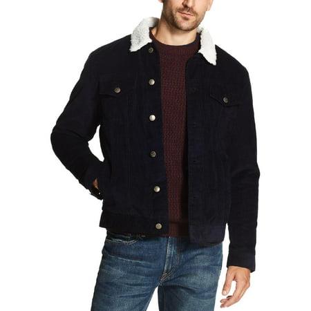 Weatherproof Vintage Mens Fall/Winter Corduroy Jean Jacket Navy L (Corduroy Jacket Men)