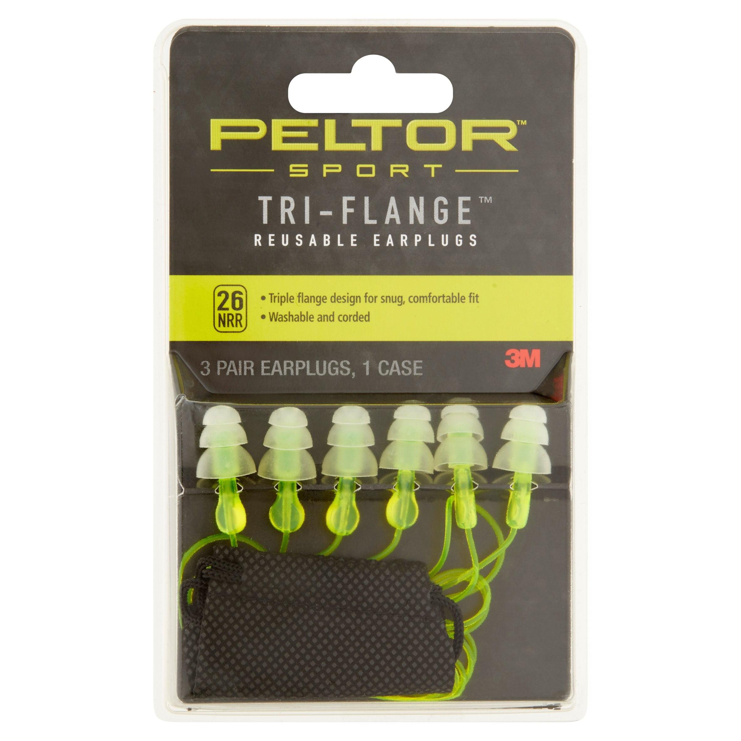 3M Peltor Sport Tri-Flange Reusable Earplugs
