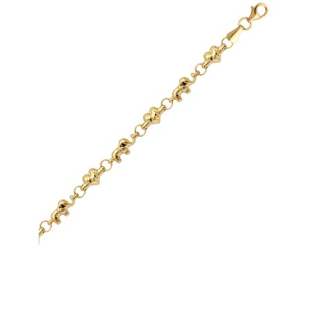 14k Yellow Gold Bracelet with Diamond-Cut Heart and Baby Elephant Links
