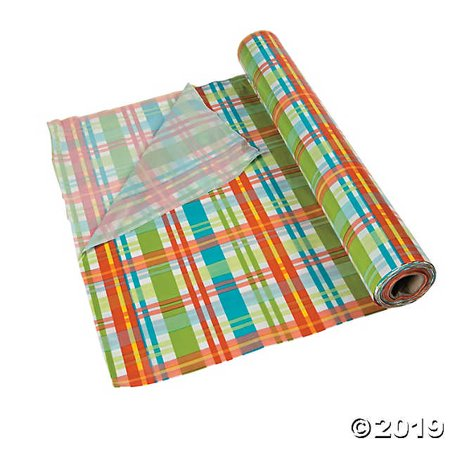Summer Plaid Plastic Tablecloth - Roll Of Tablecloth