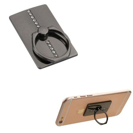 Insten Black Row Diamond Adhesive Ring Stand 360 Rotating Cell Phone Grip Holder Finger Bracket Kickstand Universal for iPhone 7 6 6s Plus SE 5s Samsung Galaxy S7 Edge S6 Note 5 J7 J5 J3 J1 On5 LG K7 - image 3 de 3