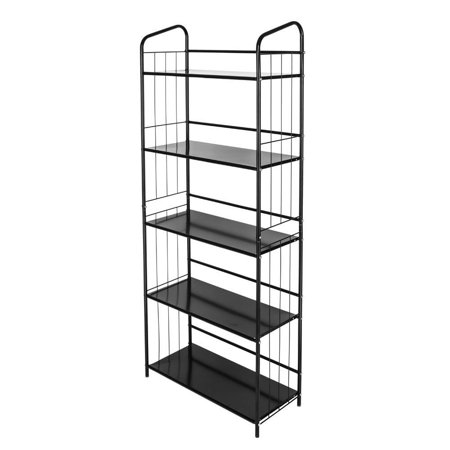 Zimtown 3 4 5 Storage Bookcase Metal Display Leaning Shelf Bookshelf Home Office Black