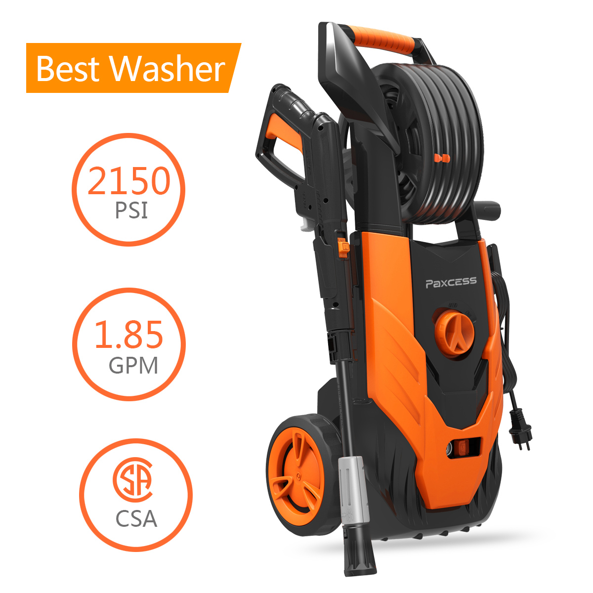 Paxcess 2150 PSI Electric Pressure Washer 1.85 GPM With Spray Gun, Adjustable Nozzle For Car/Vehicle/Floor/Wall/Furniture/Outdoor (CSA Approved)