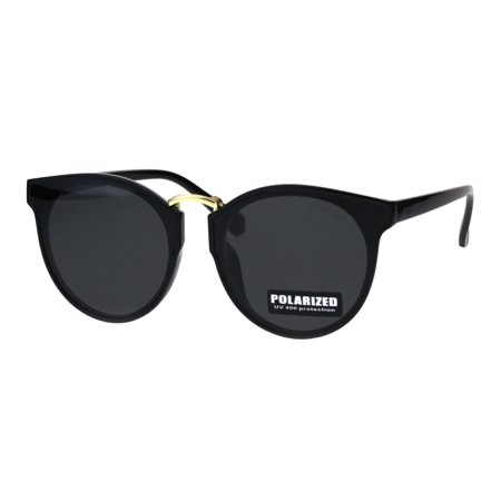 Womens Polarized Lens Round Horn Rim Mod Retro Sunglasses All Black (Black Sunglasses In Bulk)