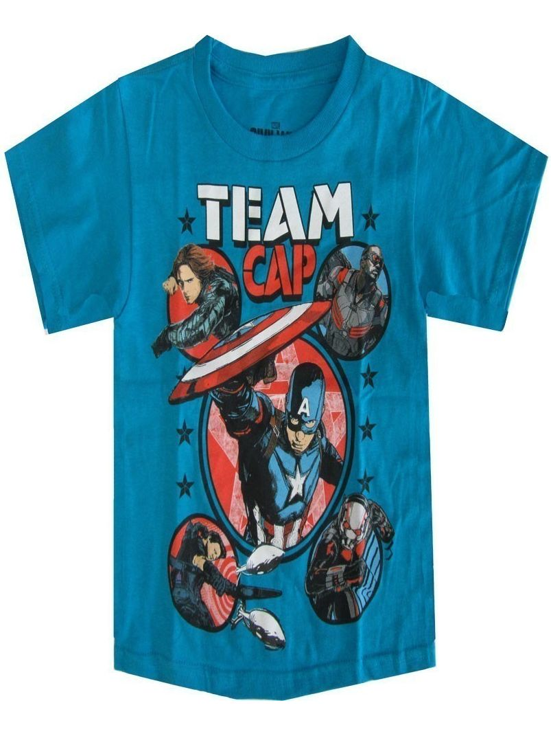 Marvel Little Boys Aqua Team Cap Graphic Print Short Sleeve T-Shirt
