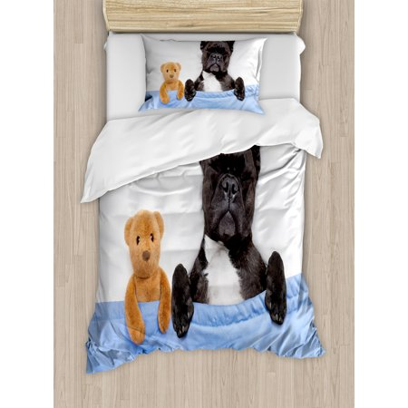 animal duvet cover set french bulldog sleeping with teddy. Black Bedroom Furniture Sets. Home Design Ideas