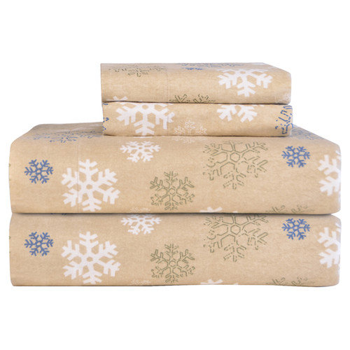 Pointehaven Heavy Weight Snowflake Printed Flannel Sheet Set