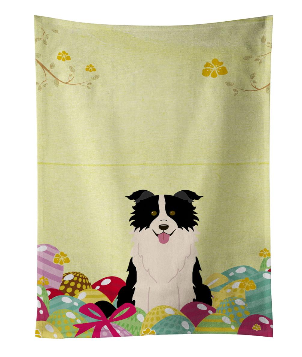 Easter Eggs Border Collie Black White Kitchen Towel BB6118KTWL by Caroline's Treasures