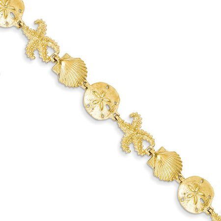14k Yellow Gold Seashore Theme Bracelet - 11.2 Grams - 7.25 Inch - Lobster Claw Gram 14k Gold Bracelet