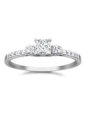 Classic Moissanite Bridal Set Engagement Ring 1.50 Carat on 10k White Gold
