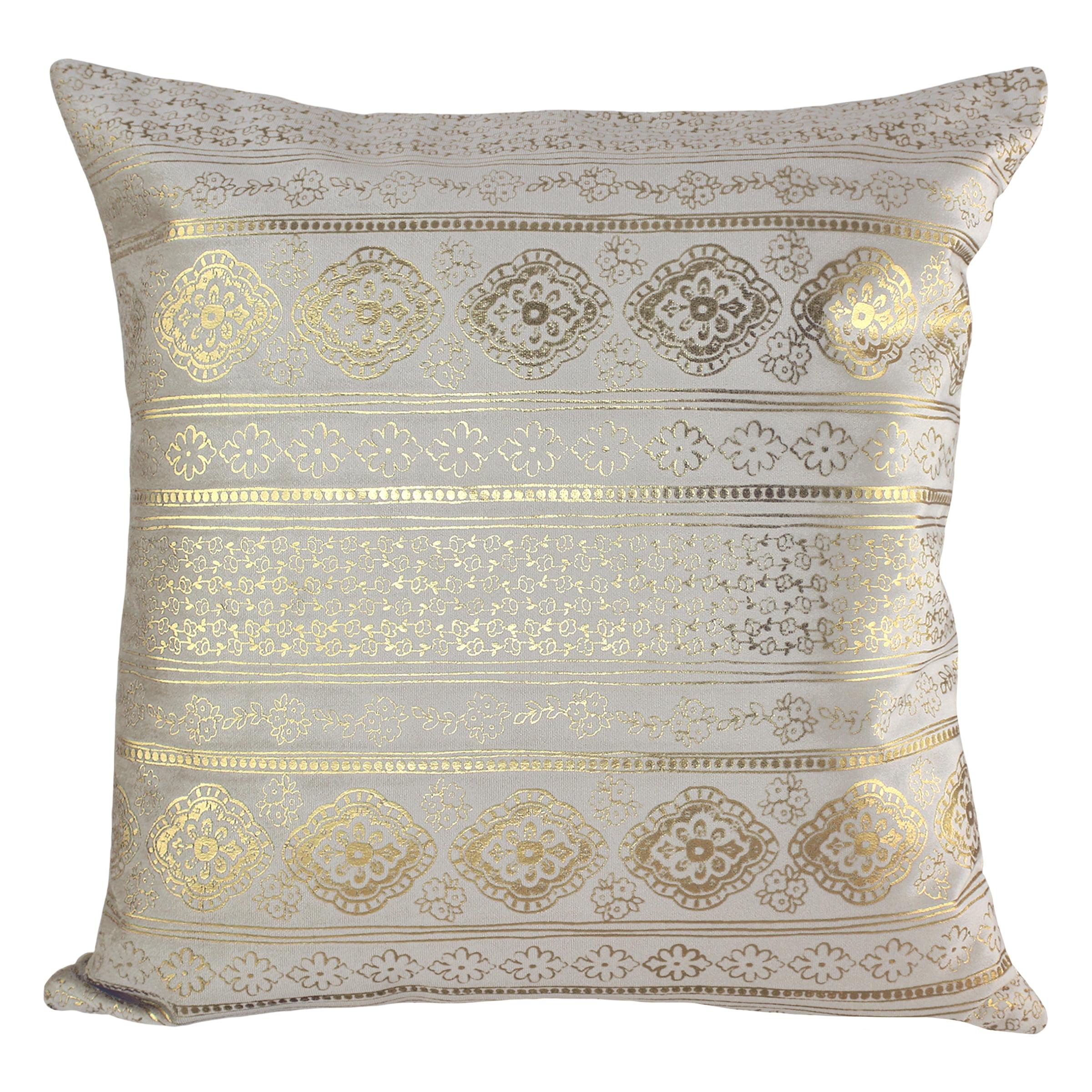 """Better Homes & Gardens Diamonds & Stripes Velvet Pillow, 18"""" x 18"""", Ivory and Gold"""