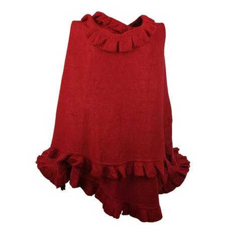 Luxury Women Ruffle Edge Poncho Knitted Shawl Premium Lady Soft Knit Cape Jacket Fashion Scarf Stretchy Wrap Over Solid Color Girl Large Shawl Elegant Cloak Warmer, Crimson
