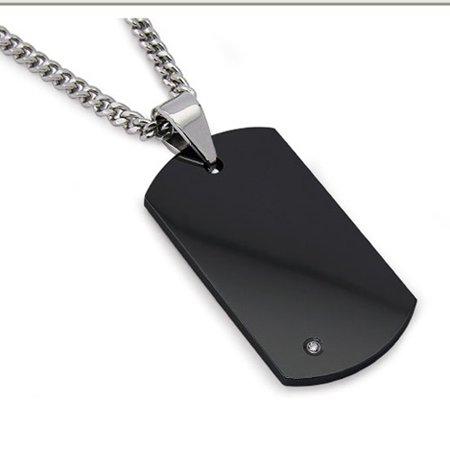 Men's Black Tungsten Carbide Dog Tag with REAL Diamond 24