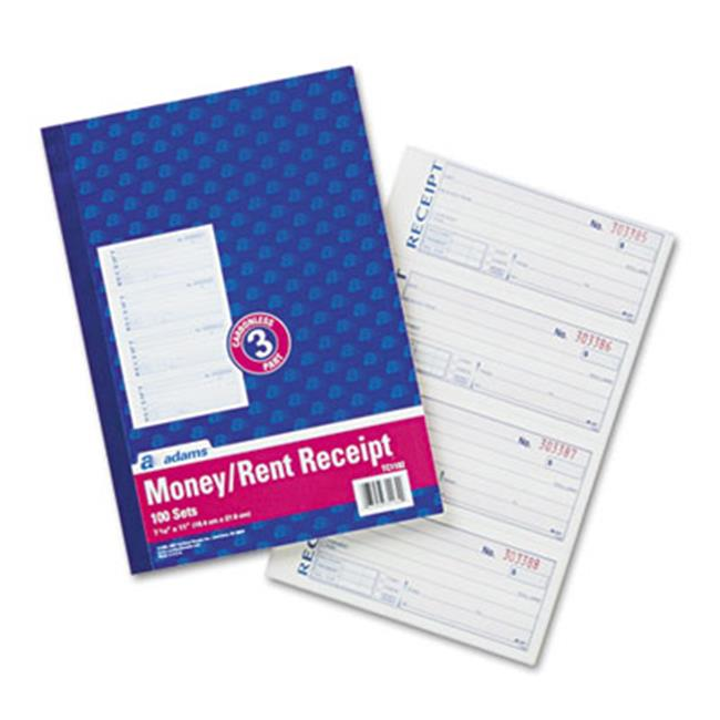 Adams Business Forms TC1182 Receipt Book  7 . 63 x 11  Three-Part Carbonless  100 Forms