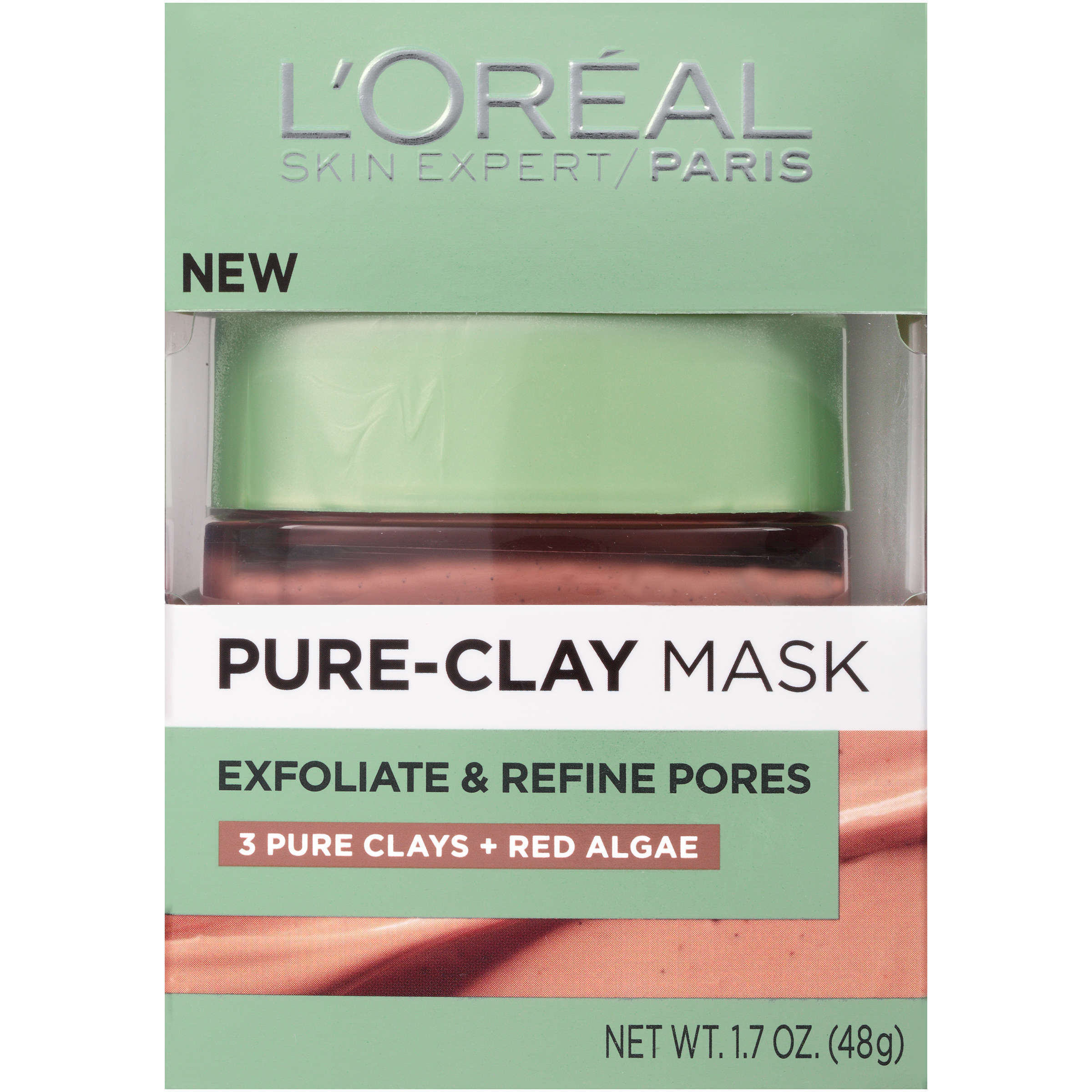 An Item L'Oreal Paris Skin Care Pure Clay Mask Exfoliate And Refine Pores, 1.7 Ounce NEW