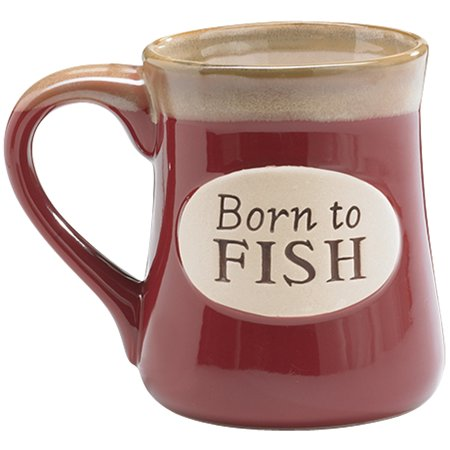 "Born To Fish - Porcelain Coffee Mug - Holds 18 Oz - Hand Painted 4.75"" Tall"