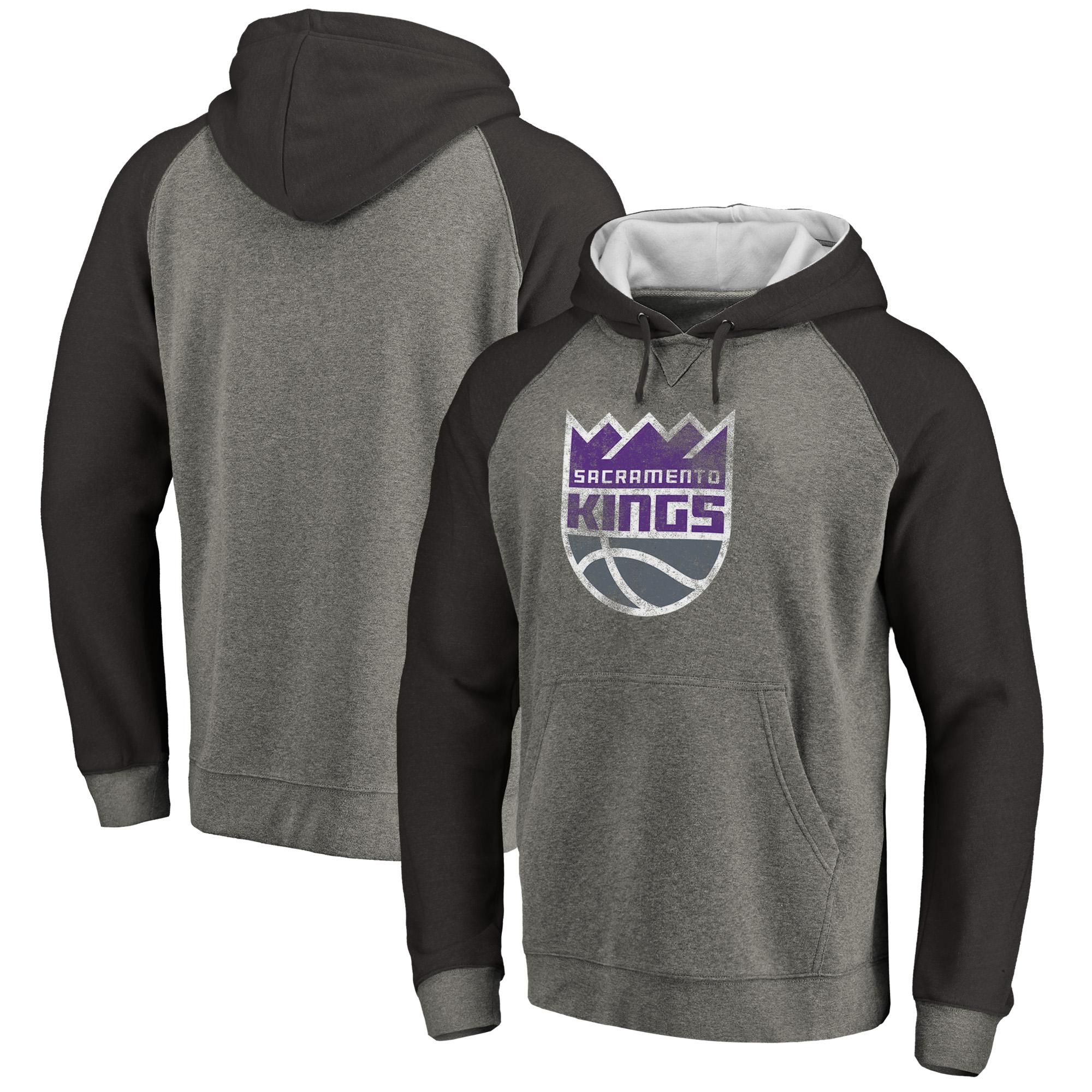 Sacramento Kings Fanatics Branded Distressed Logo Tri-Blend Big & Tall Pullover Hoodie - Ash/Black