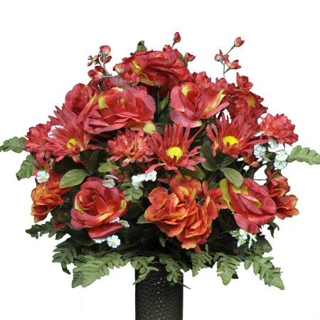 Fire Red Rose and Hydrangea Mix Artificial Bouquet, featuring the Stay-In-The-Vase Design(c) Flower Holder (LG1094) (Gala Bouquet Holder)