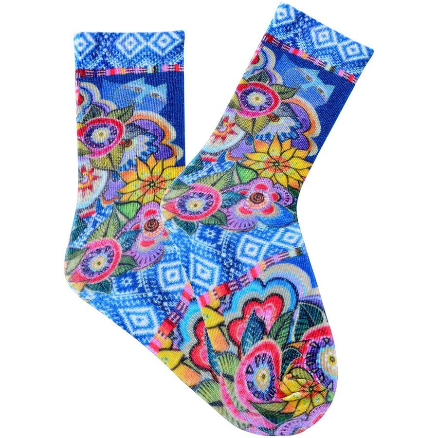 Laurel Burch Socks, Cat with Flowers, Purple