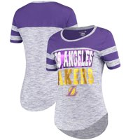 Los Angeles Lakers New Era Women's Space Dye Sleeve Stripe T-Shirt - Heathered Purple